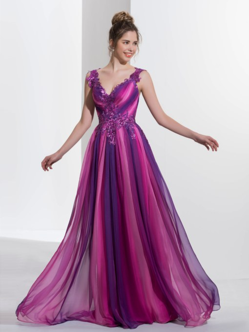 A-Line V-Neck Appliques Pleats Sequins Sweep Train Prom Dress