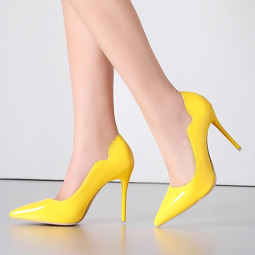 Neon Pointed Toe Stiletto Heel Slip-On Low-Cut Women's Pump