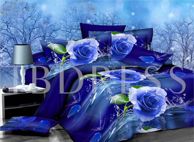 Graceful Blue Rose Print 4-Piece Polyester Bedding Sets/Duvet Cover Sets