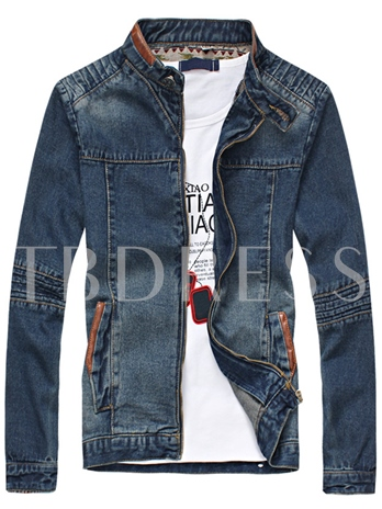 England Style Stand Collar Vintage Worn Cotton Men's Denim Jacket