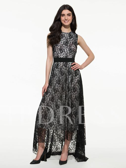 Round Neck Sleeveless Women's Lace Dress