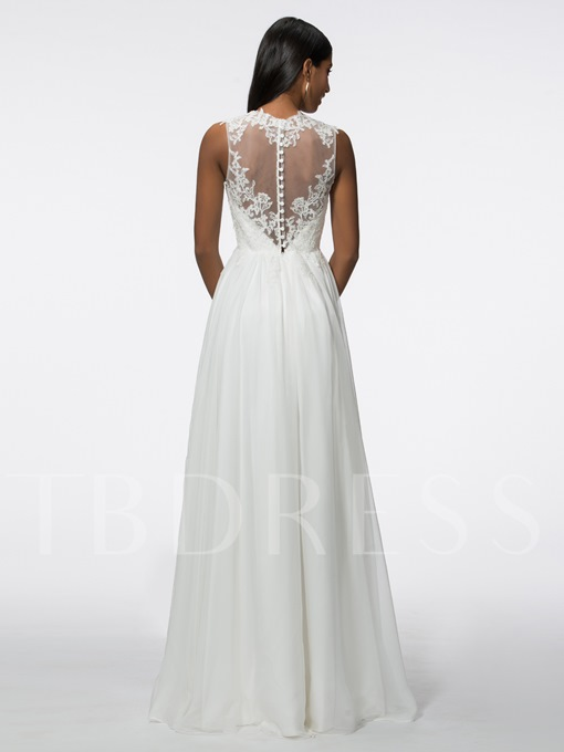 A-Line Jewel Appliques Long Evening Dress