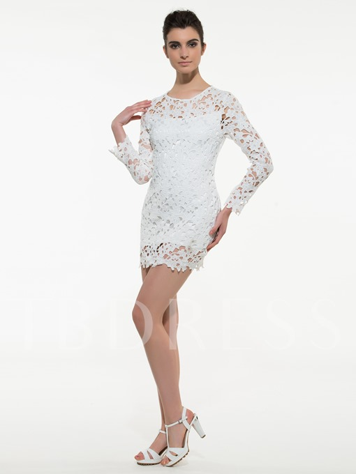White Round Neck Long Sleeve Women's Lace Dress