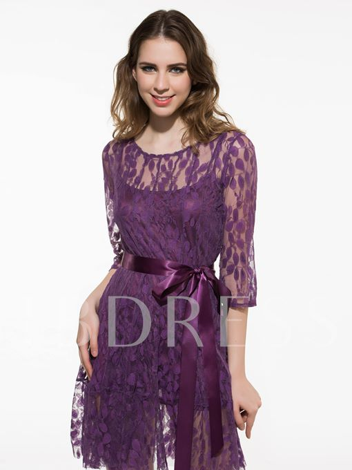 3/4 Sleeve Lace Women's Plus Size Dress