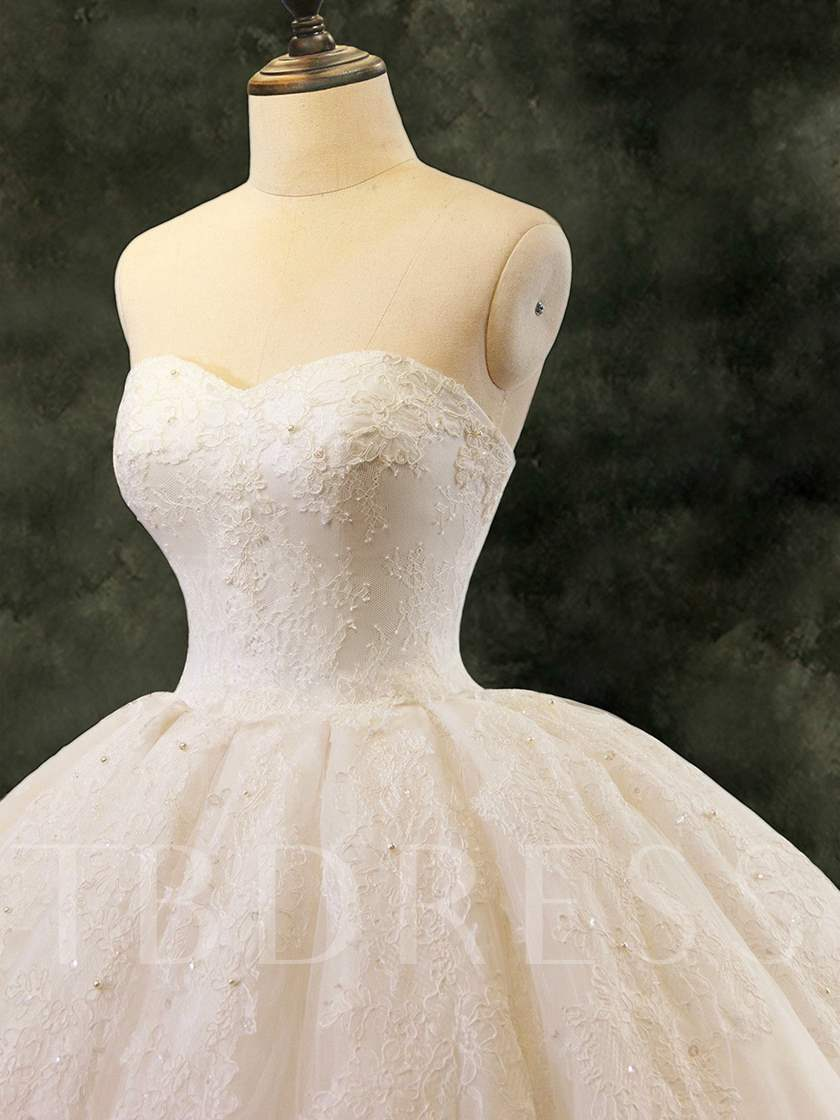 Ball Gown Strapless Pearls Lace Wedding Dress