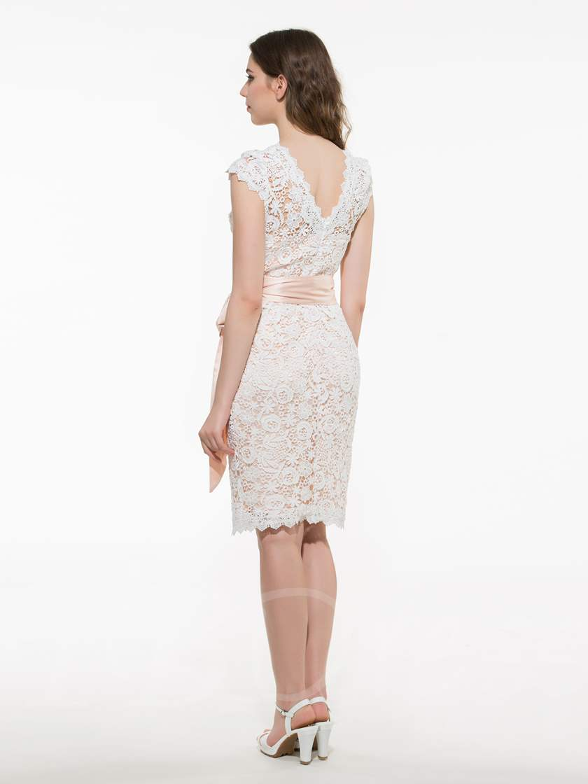 V-Neck Knee-Length Bodycon Single Women's Lace Dress