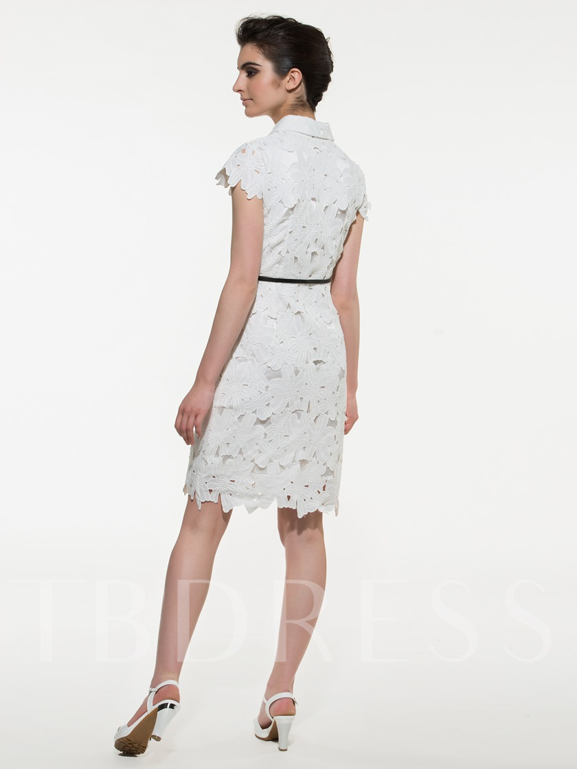 Off White V-Neck Bowknot Plain Belt Women's Lace Dress