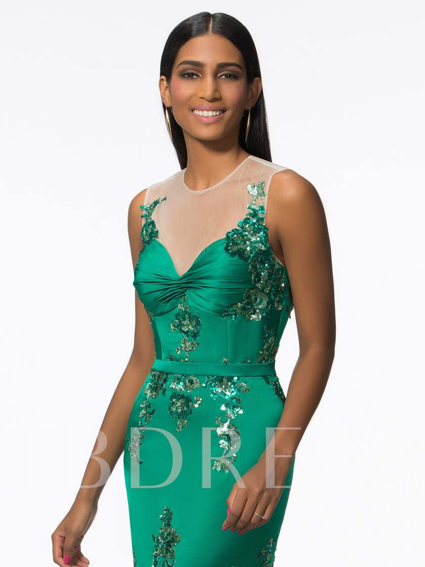 Illusion Neck Sequins Appliques Mermaid Evening Dress