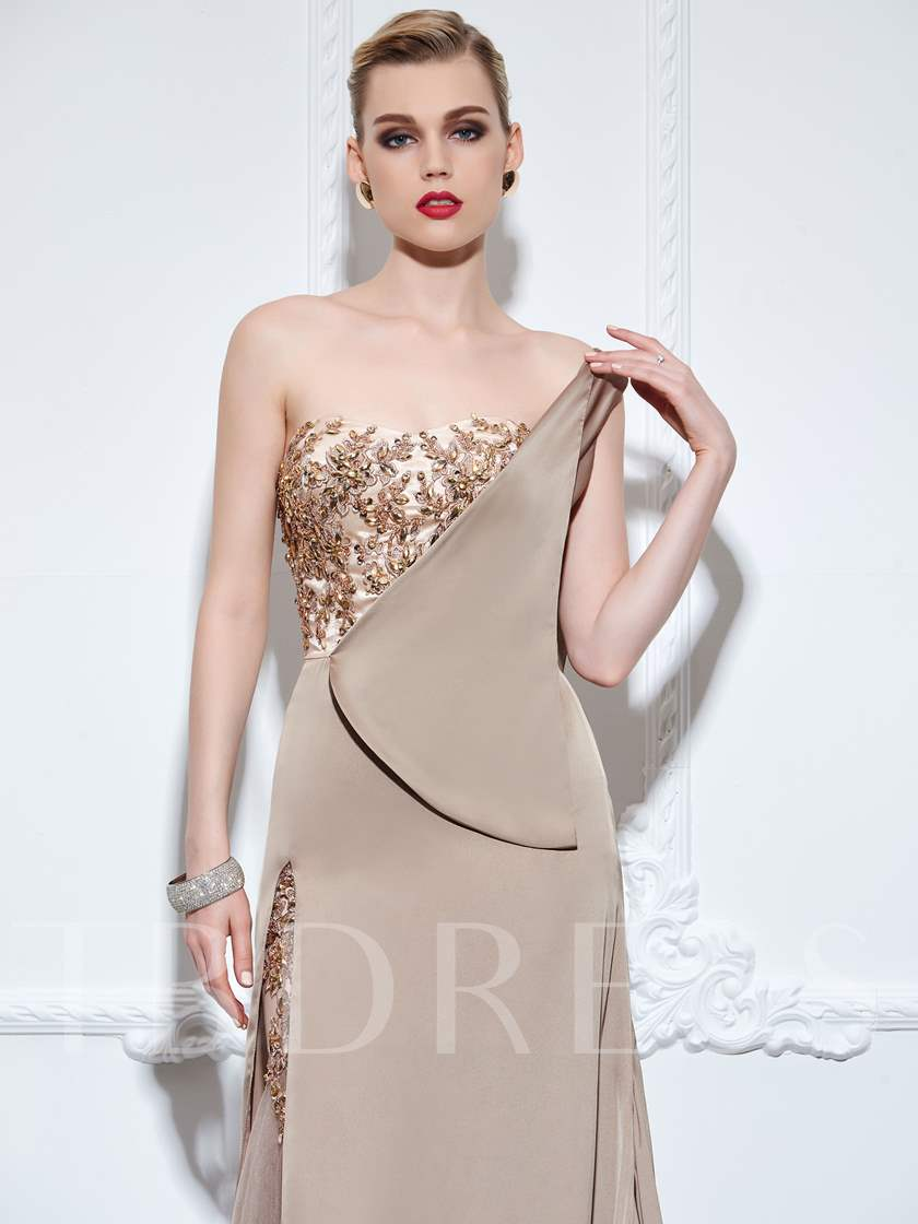 A-Line One-Shoulder Appliques Rhinestone Evening Dress