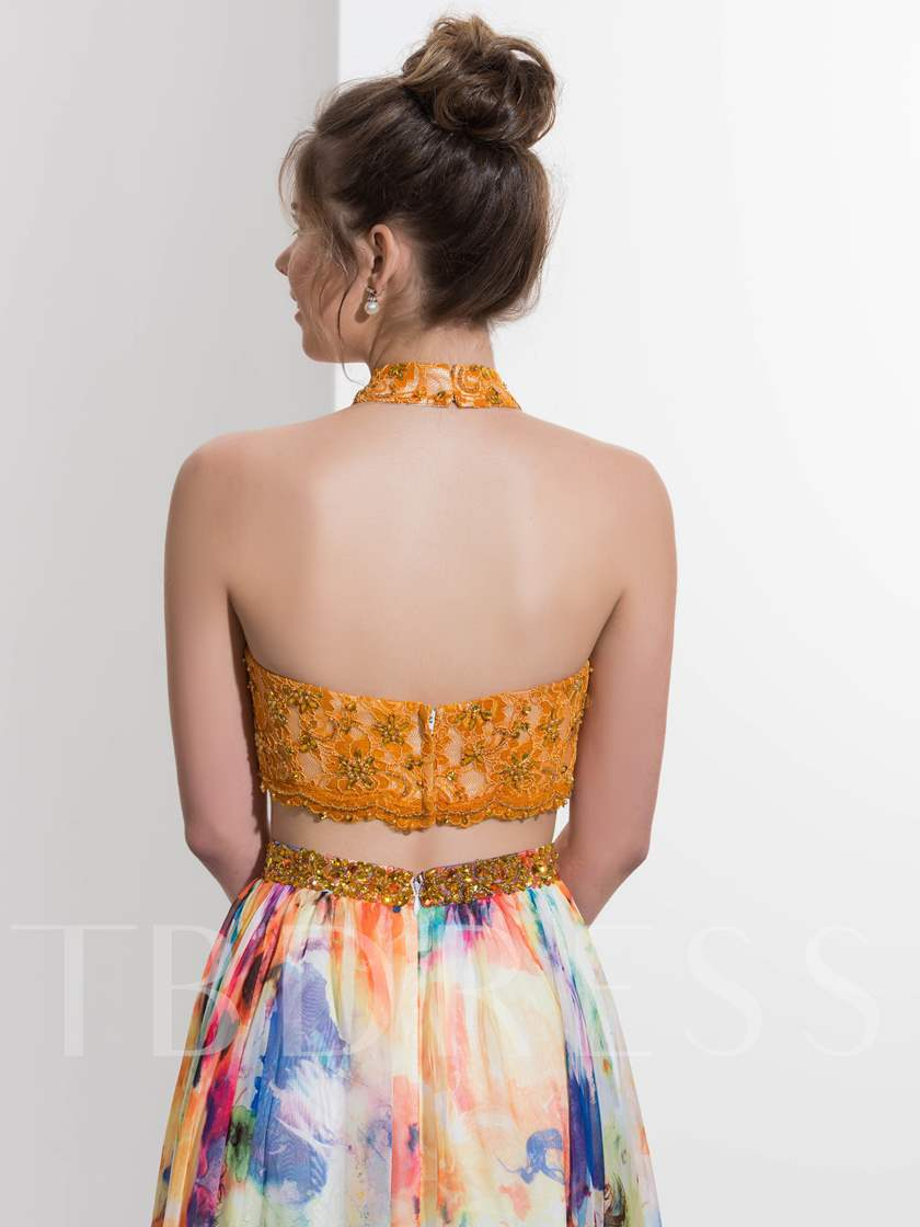 Two Pieces A-Line Halter Beading Lace Printed Sweep Train Prom Dress