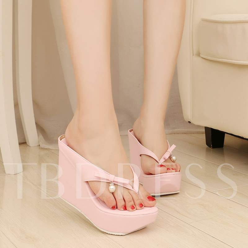 Slip-On Wedge Heel Platform Bowtie Women's Sandals