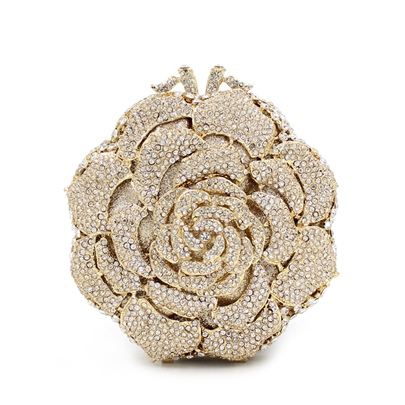 Deluxe Full of Rhinestone Rose Women's Clutches