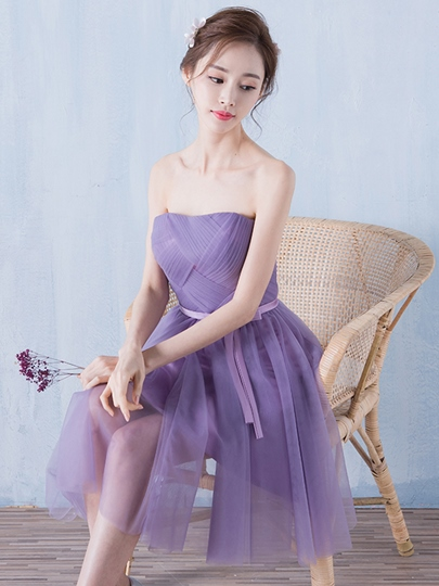 A-Line Strapless Bowknot Pleats Sashes Homecoming Dress