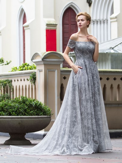 A-Line Off-the-Shoulder Short Sleeves Lace Court Train Evening Dress