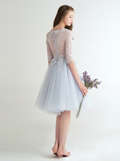 A-Line Scoop Half Sleeves Lace Knee-Length Homecoming Dress