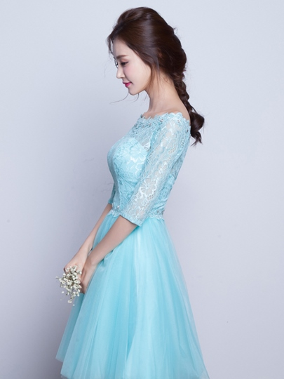 A-Line Off-the-Shoulder Half Sleeves Beading Lace Homecoming Dress