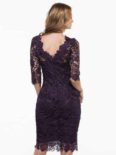 Purple Half Sleeve Round Neck Hollow Women's Lace Dress