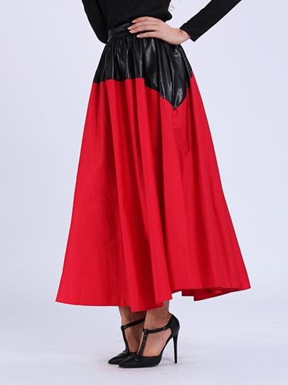 Chiffon Patchwork Floor Length Women's Skirt