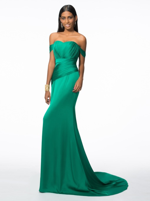 Off the Shoulder Pleats Trumpet Evening Dress