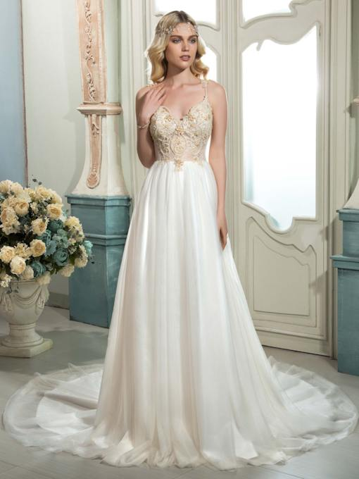 Spaghetti Strap Beading Lace Wedding Dress
