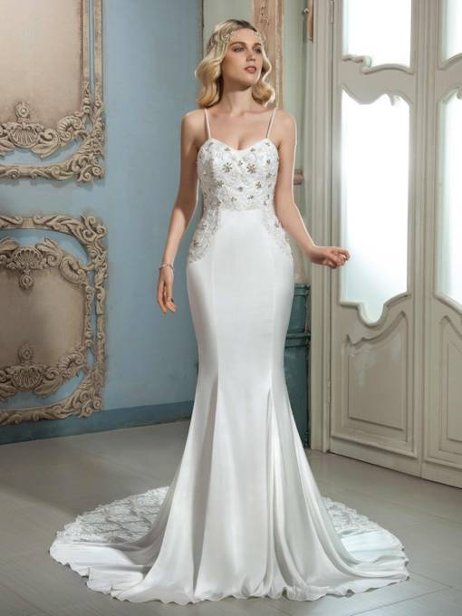 Spaghetti Strap Beading Court Train Lace Wedding Dress