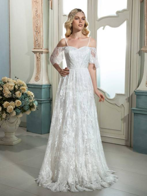 Spaghetti Strap Short Sleeves Lace Zipper-Up A-Line Wedding Dress