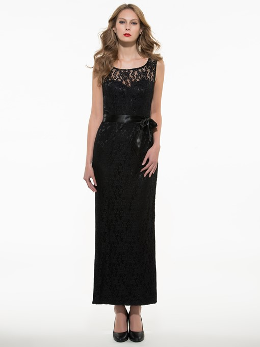 Round Neck Sleeveless Lace Women's Maxi Dress