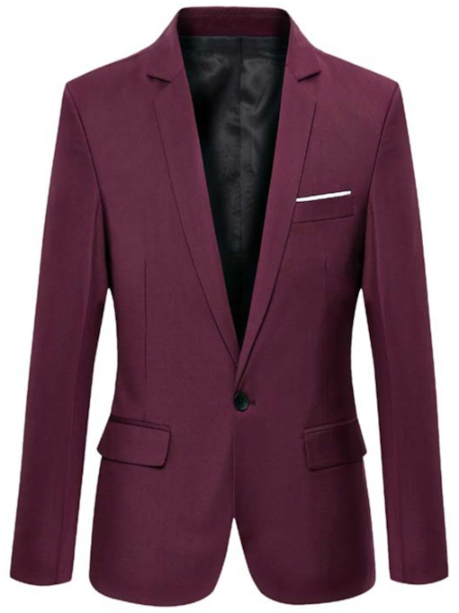 One Button Plain Slim Notched Lapel Men's Blazer