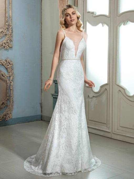 Spaghetti Strap Lace Zipper-Up Sweep Train Mermaid Wedding Dress