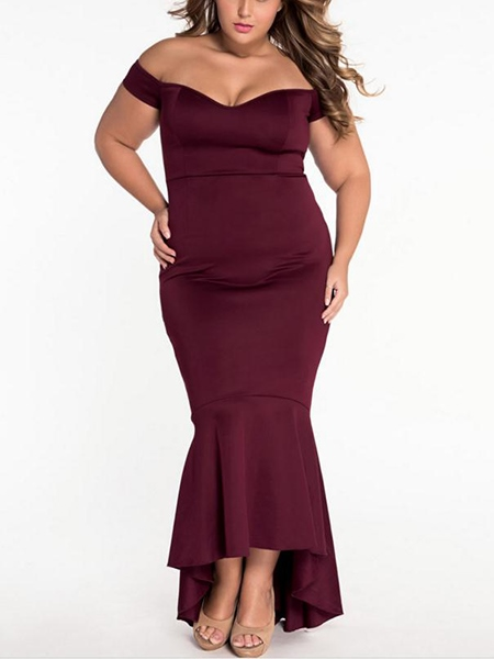 Plain Falbala Backless Women's Maxi Dress (Plus Size Available)