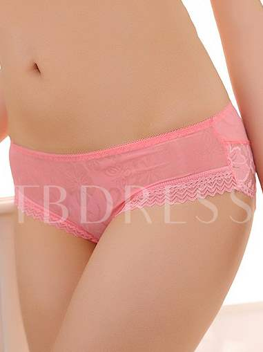 Womans' Floral Lace Solid Color Panties (Multicolor)