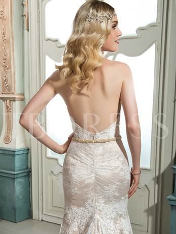 Halter Lace Beading Open Back Mermaid Court Train Wedding Dress