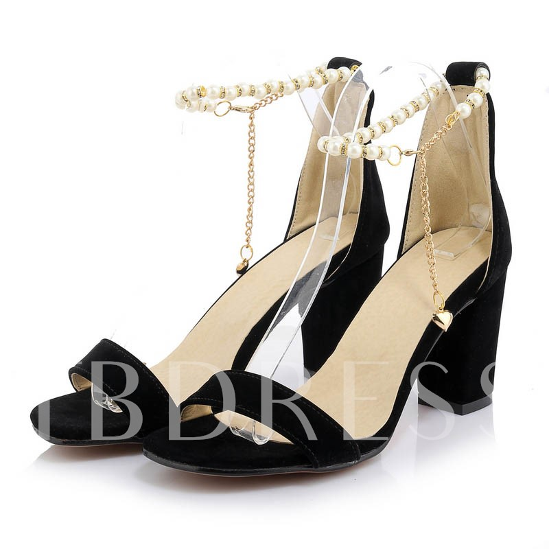 Open Toe Zipper Plain Chunky Heel Bead Chain Women's Sandals