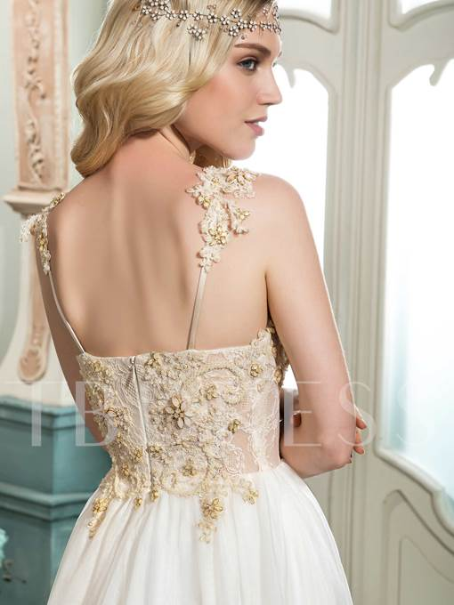 Spaghetti Strap Beading A-Line Court Train Long Sleeves Wedding Dress