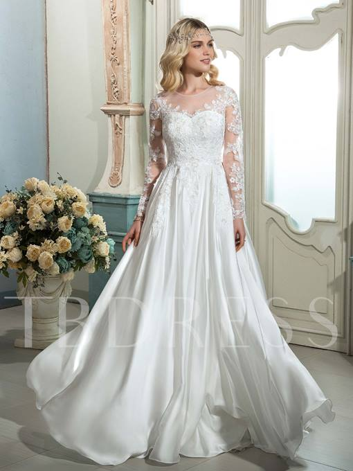 Scoop Neck Long Sleeves Button A-Line Wedding Dress