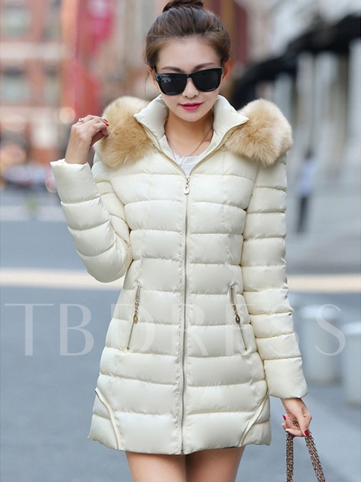 Fuax Fur Patchwork Dual Pocket Pure Zipper Women's Overcoat