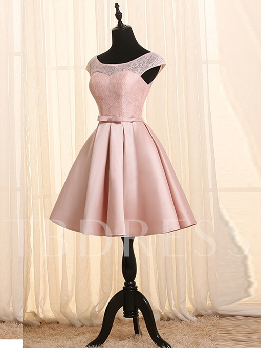 A-Line Scoop Cap Sleeves Lace Sashes Short Homecoming Dress