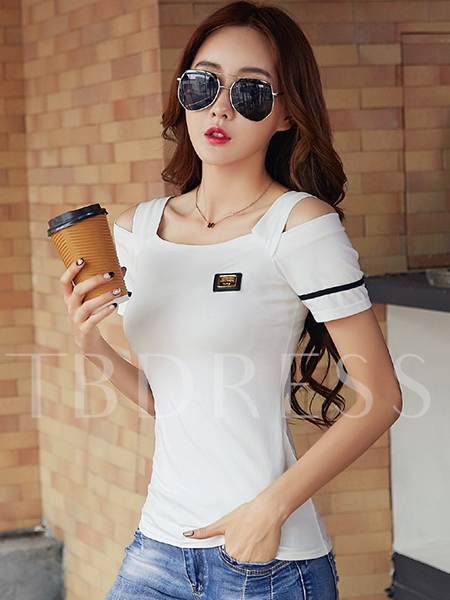 Cold Shoulder Short Sleeve Women's T-shirt