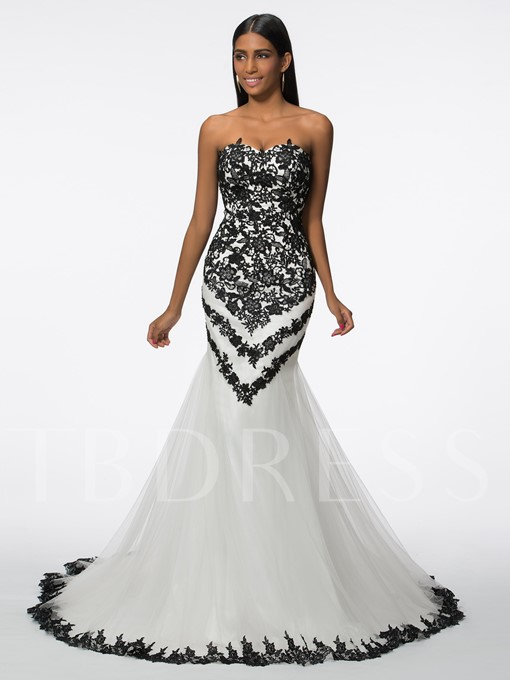 Sweetheart Appliques Tulle Mermaid Evening Dress