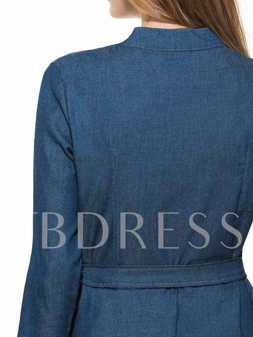 Single-Breasted Long Sleeve Women's Day Dress (Plus Size Available)