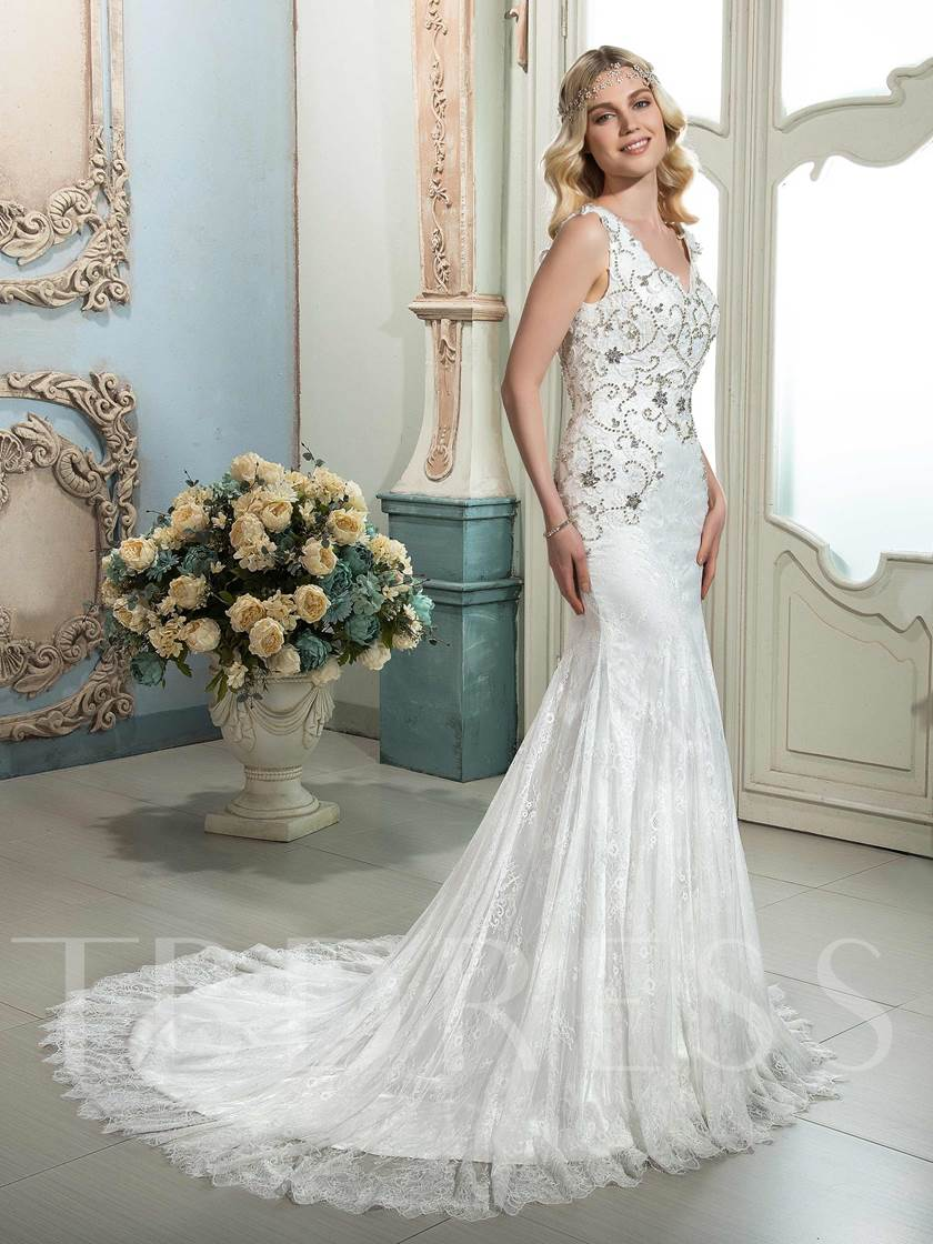 V-Neck With Lace Beading Mermaid Wedding Dress