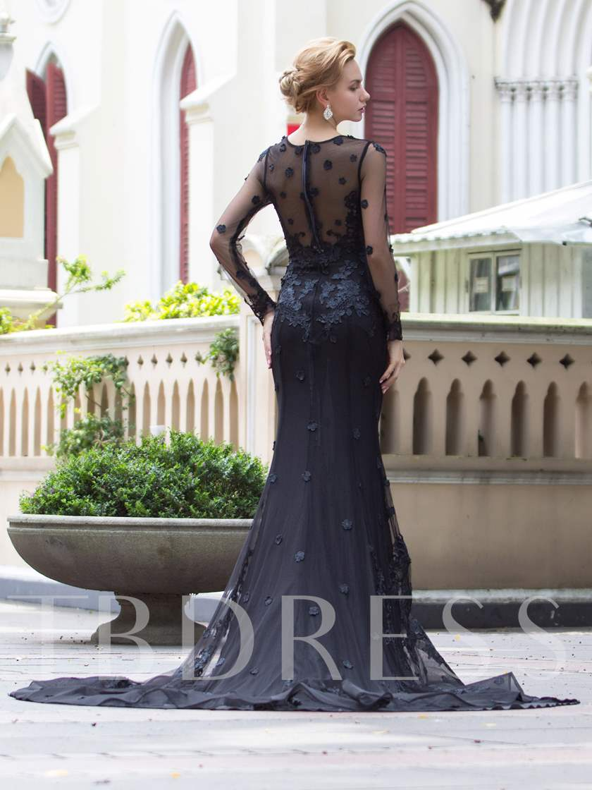 Mermaid Scoop Zipper-Up Appliques Court Train Evening Dress
