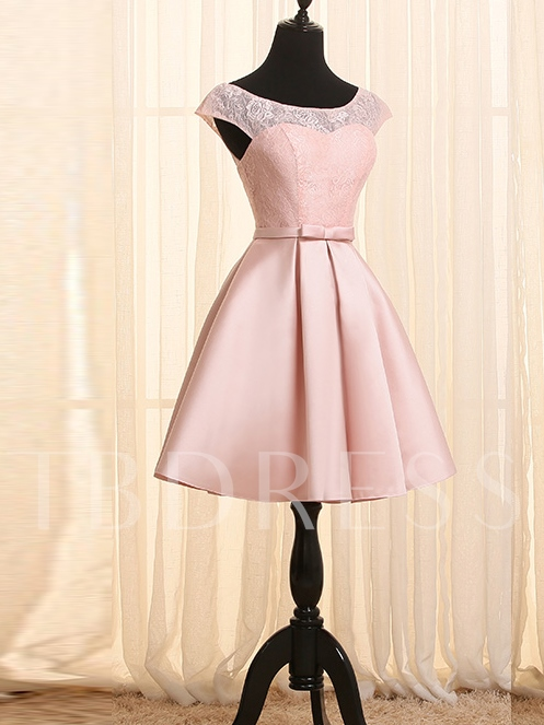 Scoop Neck Cap Sleeves Lace Homecoming Dress