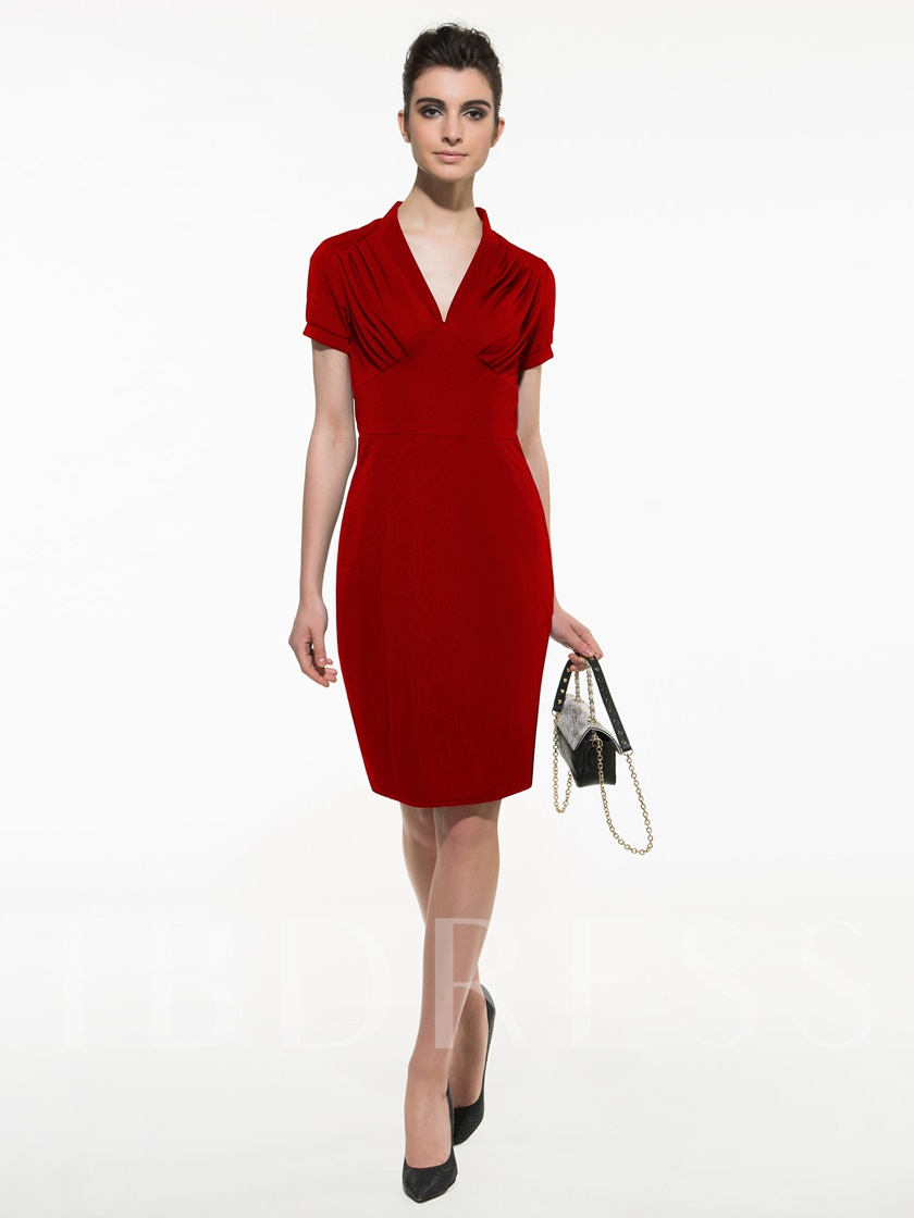 Short Sleeve V-Neck Knee-Length Sheath Women's Dress
