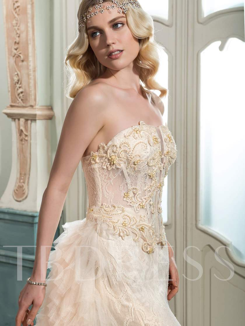 Strapless Lace Beading Tiered Wedding Dress with Train