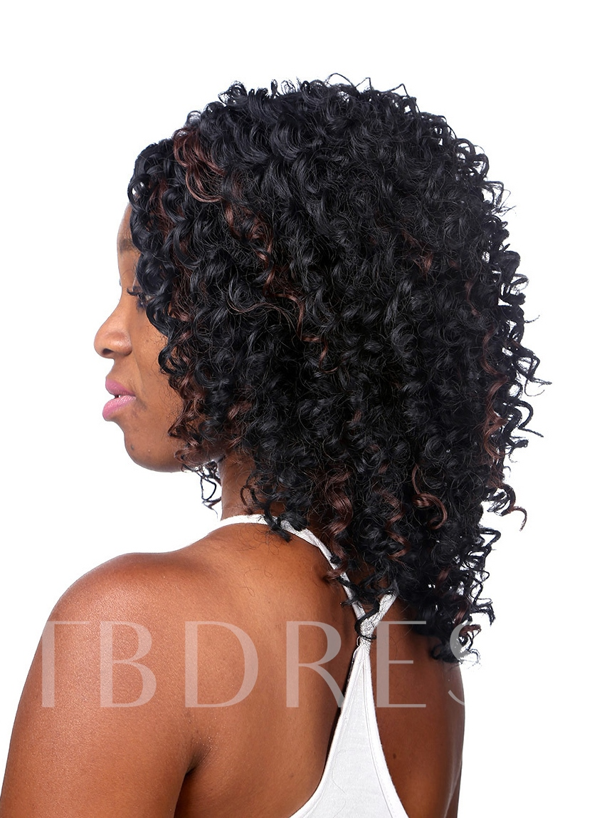 Medium Curly Synthetic Hair Capless Wig 14 Inches