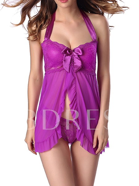 Sexy Lace Halter Fly-Away Front Babydoll Sexy Lingerie