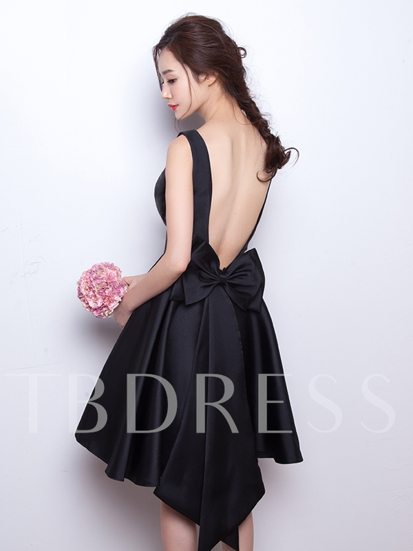 Image of A-Line Scoop Bowknot Backless Short Homecoming Dress