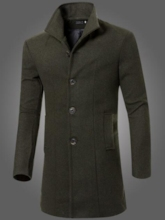 Lapel Midi Pattern Solid Color Slim Men's Woolen Coat