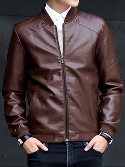 Men's Solid Color PU Jacket with Stand Collar